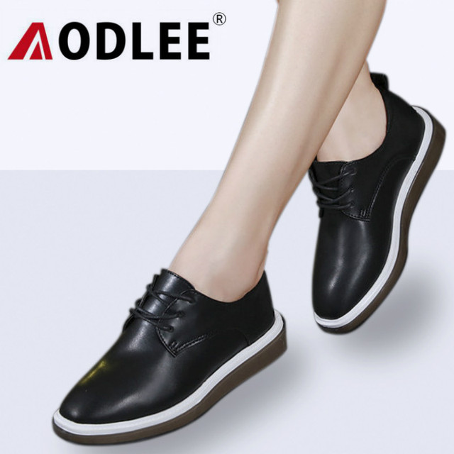 AODLEE Spring Women Oxfords Flats White Sneakers Shoes Women Genuine Leather Shoes Moccasins Loafers Lace Up Ladies Derby Shoes