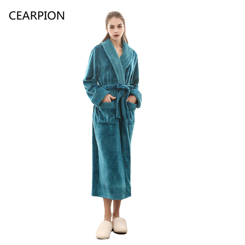 CEARPION Women Winter Bath Robe Thick Flannel Kimono Bathrobe Gown Solid  Color Long Sleeve Nightgown Femme deb0958d8