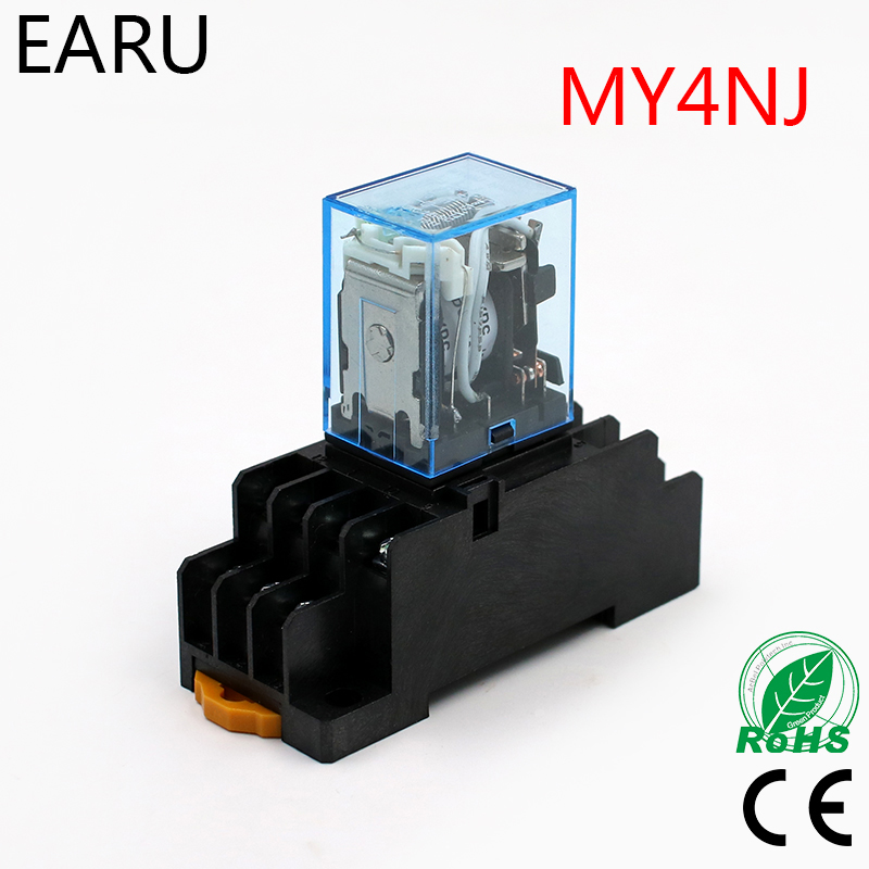 1Pc MY4NJ Electronic Micro Mini Electromagnetic Relay 5A 14PIN Coil 4DPDT With PYF14A Socket Base DC12V 24V AC110V 220V LED