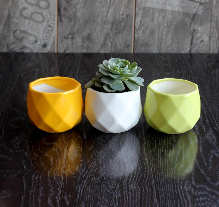 Gel de silice silicone moule géométrique en céramique pots de fleurs moderne jardin décoration bureau pots 3d vase moule