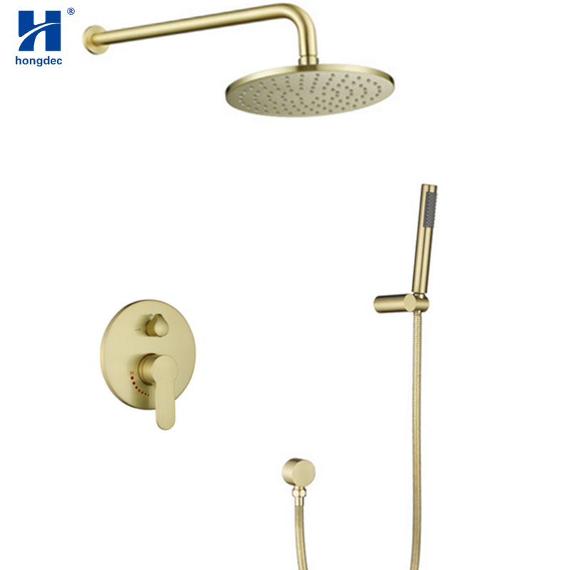 Hongdec Luxury bathroom Brass round 10 Brushed gold Rainfall Shower System set