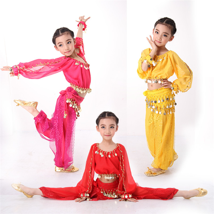 4PCS/SET Belly Dance Costumes Indian Dress for Children Kids Belly Dance Costumes Bollywood Dance Girls Gift S-XXL Long Sleeves