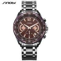 SINOBI Luxury Brand S Shock Watches Men OutSport Brown Steel Quartz Watch Man Chronograph Clock Men