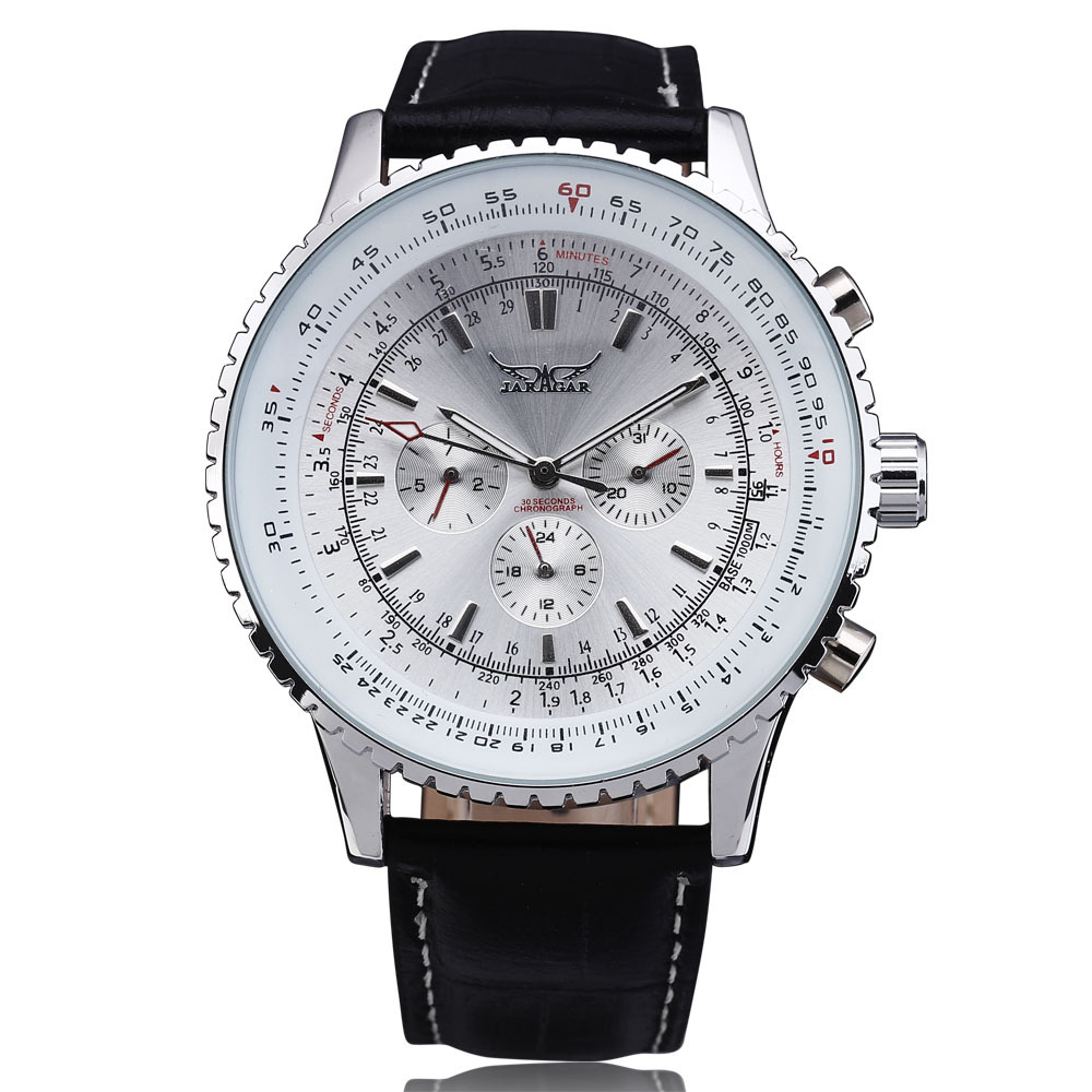 2016 Fashion JARAGAR Mechanical Watches Men Luxury Brand Classic Automatic 6 Pin Calendar Dial Leather Strap Dress Wristwatch 2016 jaragar fashion automatic mechanical men dress watches 24 hour week date solid dial leather band simple wristwatch gift