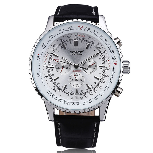 Nouvelle mode JARAGAR montres mécaniques hommes marque de luxe classique automatique 6 broches calendrier cadran en cuir bracelet robe montre-bracelet