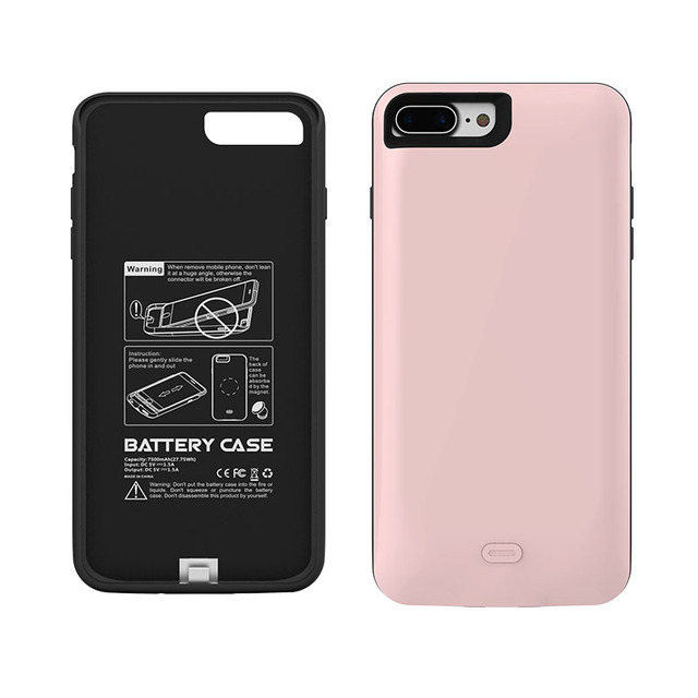 1Pcs Ultrathi 7500mAh for iPhone 7 Plus Battery Charger Case External Backup Rechargeable Power Bank Cover Black White Rose Gold