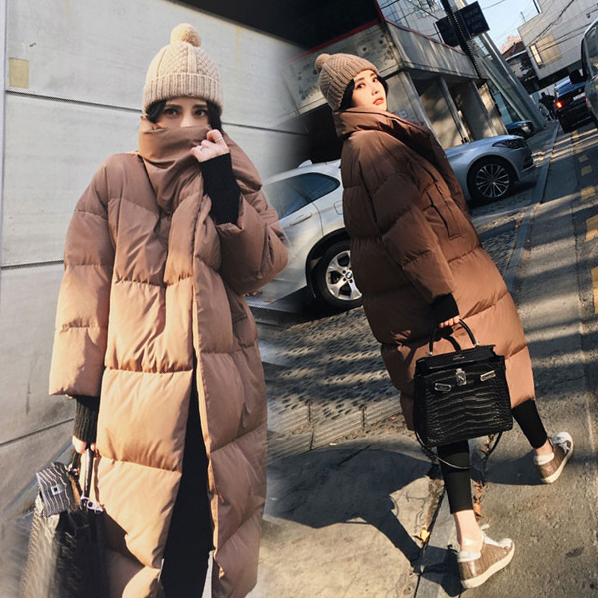 Caramel Color Cotton-padded Clothes Woman s Winter New Korean Easy Thickening Overknee Long Fund Bread Down Cotton Loose Coat(China)