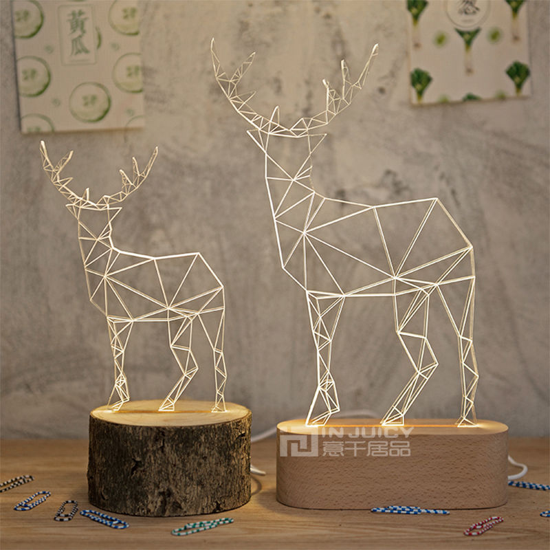 Nordic Modern Wood Deer LED Bedroom Desk Lamp Table Light Machilus Beech Corridor Loft Reading Living Room Decor Gift New free shipping christmas deer table european diy arts crafts home decorative elk wood craft gift desk self build puzzle furniture