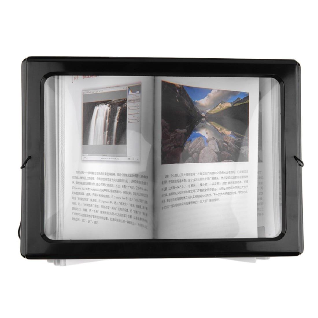 1vnt. A4 formato visas puslapis, didelis, 3x milžiniškas laisvų rankų darbo stalo, sulankstomas padidinamojo stiklo padidintuvas, skirtas skaitymui, siuvamasis mezgimas, naudojant 4 LED lemputes