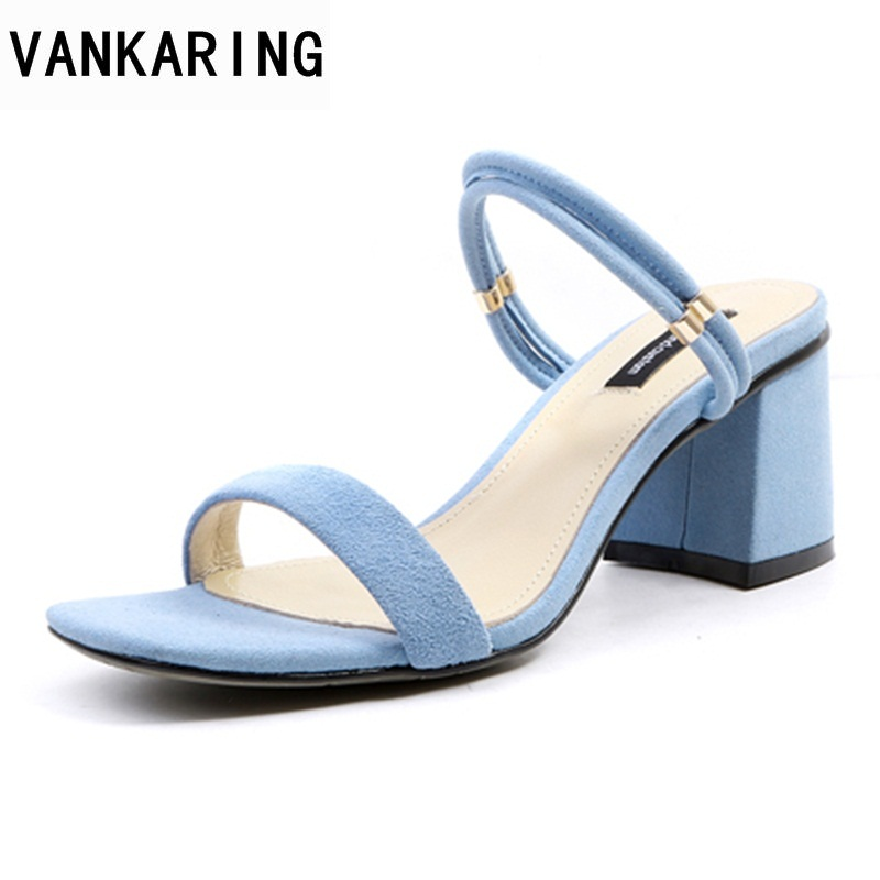 VANKARING hot sale summer open toe women sandals sexy square heels 6cm women shoes black blue gladiator shoes ankle stra sandals hot sale open front geometry pattern batwing winter loose cloak coat poncho cape for women