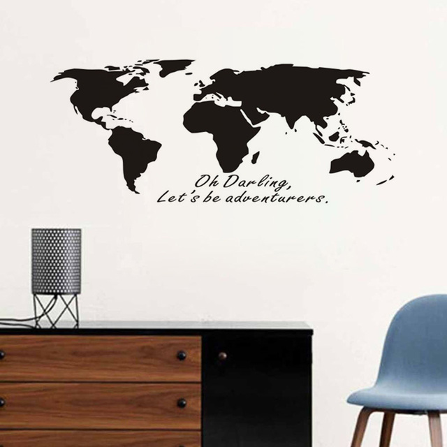 wall stickers world map oh darling let's be adventurers bedroom