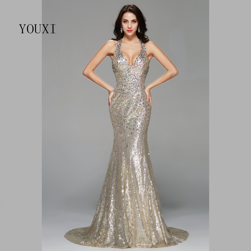 Sexy Champagne Sequin with Color Crystal Long Prom Dresses 2017 New Fashion Mermaid Formal Evening Gowns PD91