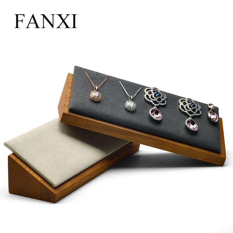 FANXI Solid Wood Necklace Holder And Pendant Display Stand With Microfiber For Jewelry Exhibition