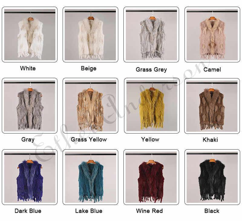 Klasik tasarım bayan kürk yelek rakun kürk yaka jile örme tavşan kürk kısa yelek perakende/toptan ceket en çok satan