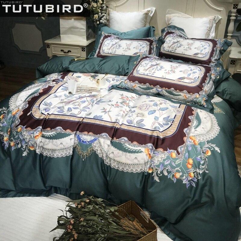 2018 Pink Blossom Flowers Bedlinens Winter Thick Duvet Cover Set Sanding Cotton Queen King Size Bedding Set Pillowcases Home & Garden Bedding