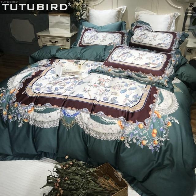 53de322d2dc Best Price 100% Egypt Cotton Royal bedding set bed linen European green  luxury Bohemian floral king Print duvet cover bedspreads bed sheets