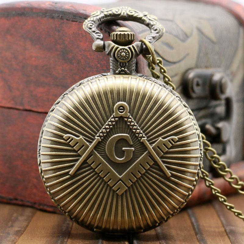 Bronze/Silver Freemasonry Masonic Design Vintage Antique Quartz Pendant Pocket Watch With Chain Necklace Fob Clock Best Gifts