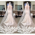 Velos De Novia  Wedding Veil 2016 Bride Veils Applique Tulle 3 Meters Long Wedding Veils Bridal Accessories Lace Bridal Veil