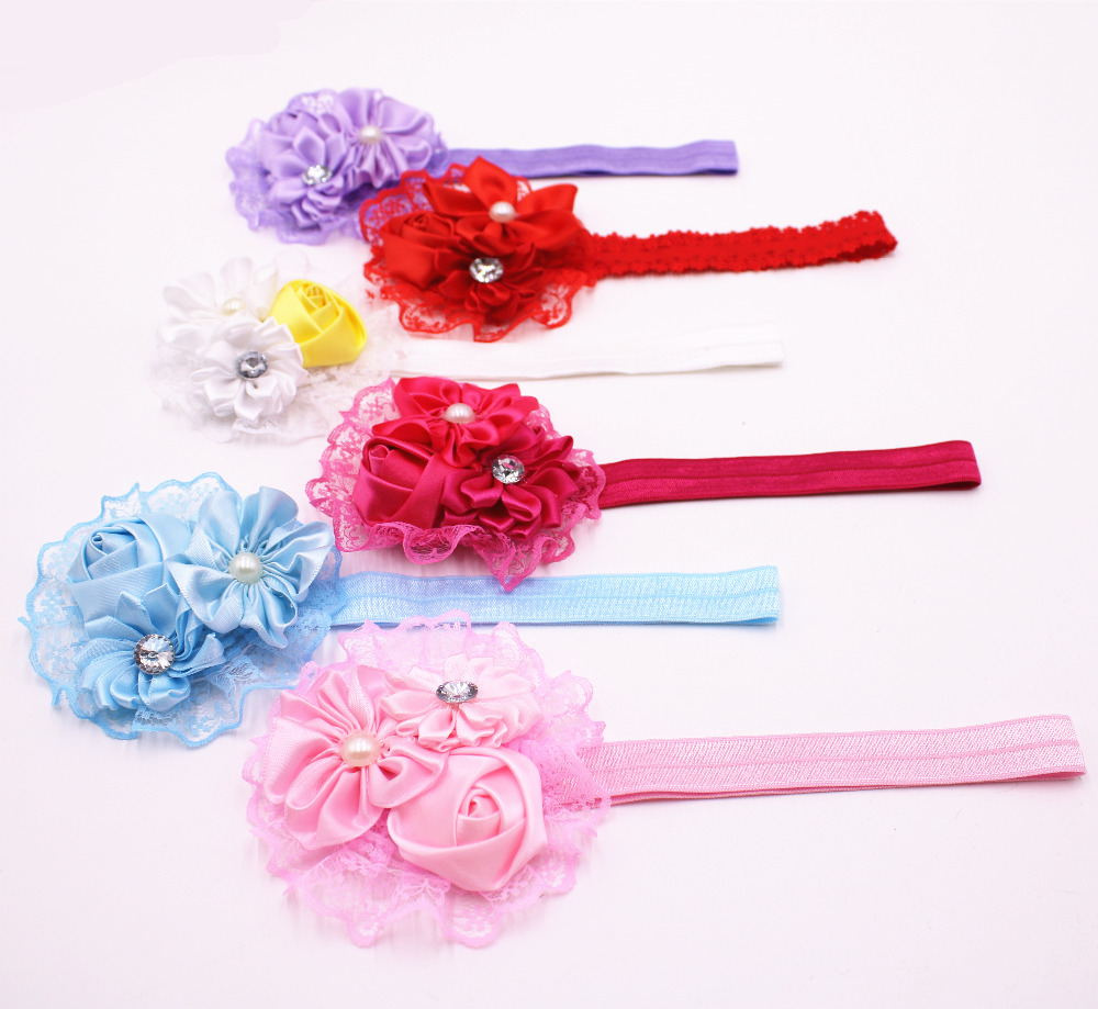 Красивая гладкая кружевная Цветочная повязка для волос, милый бутик стразы, Детская повязка на голову с жемчугом, аксессуары для волос для д...