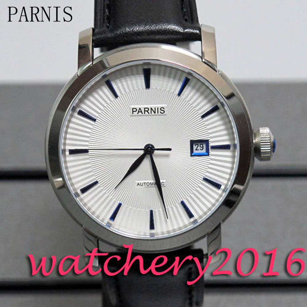 Classical Parnis 41mm white dial blue marks date window miyota 8215 Automatic movement Mens WatchClassical Parnis 41mm white dial blue marks date window miyota 8215 Automatic movement Mens Watch