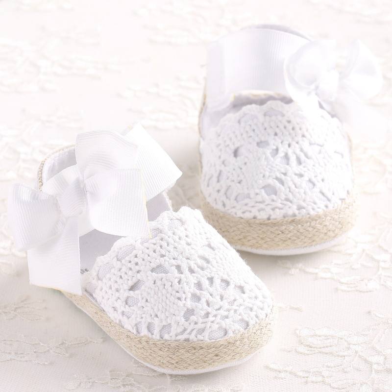 ROMIRUS Baby Girl Newborn Shoes Spring Summer Sweet Very Light Mary Jane Big Bow Knitted Dance Ballerina Dress Pram Crib Shoe(China)