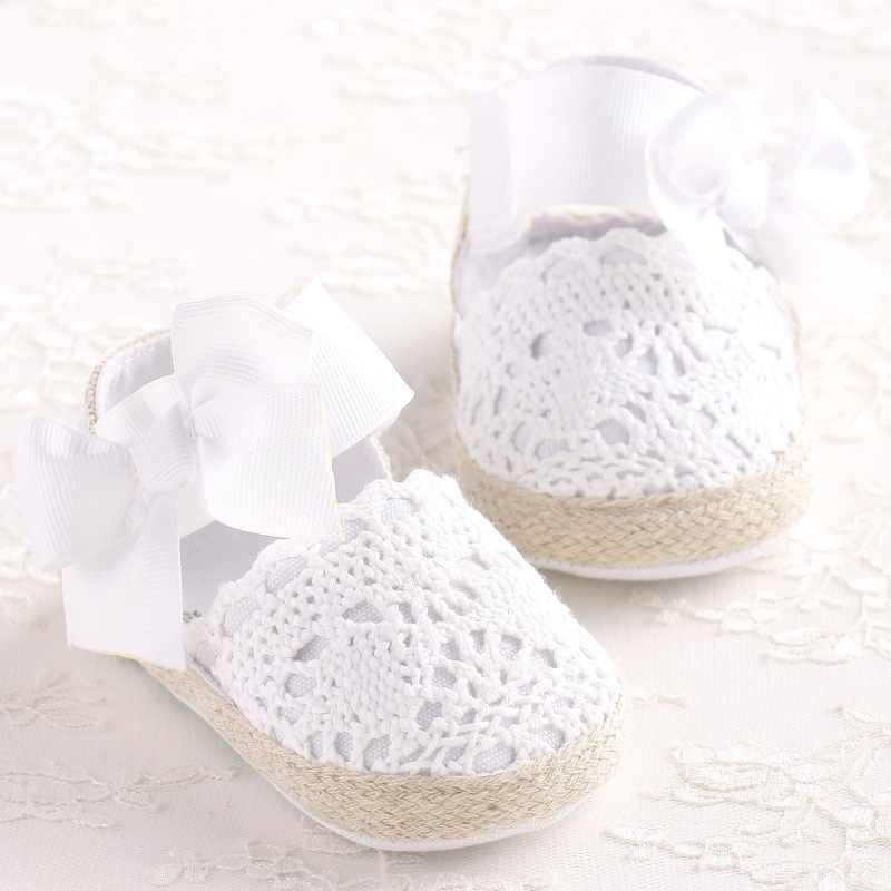ROMIRUS Baby Girl Newborn Shoes Spring Summer Sweet Very Light Mary Jane Big Bow Knitted Dance Ballerina Dress Pram Crib Shoe