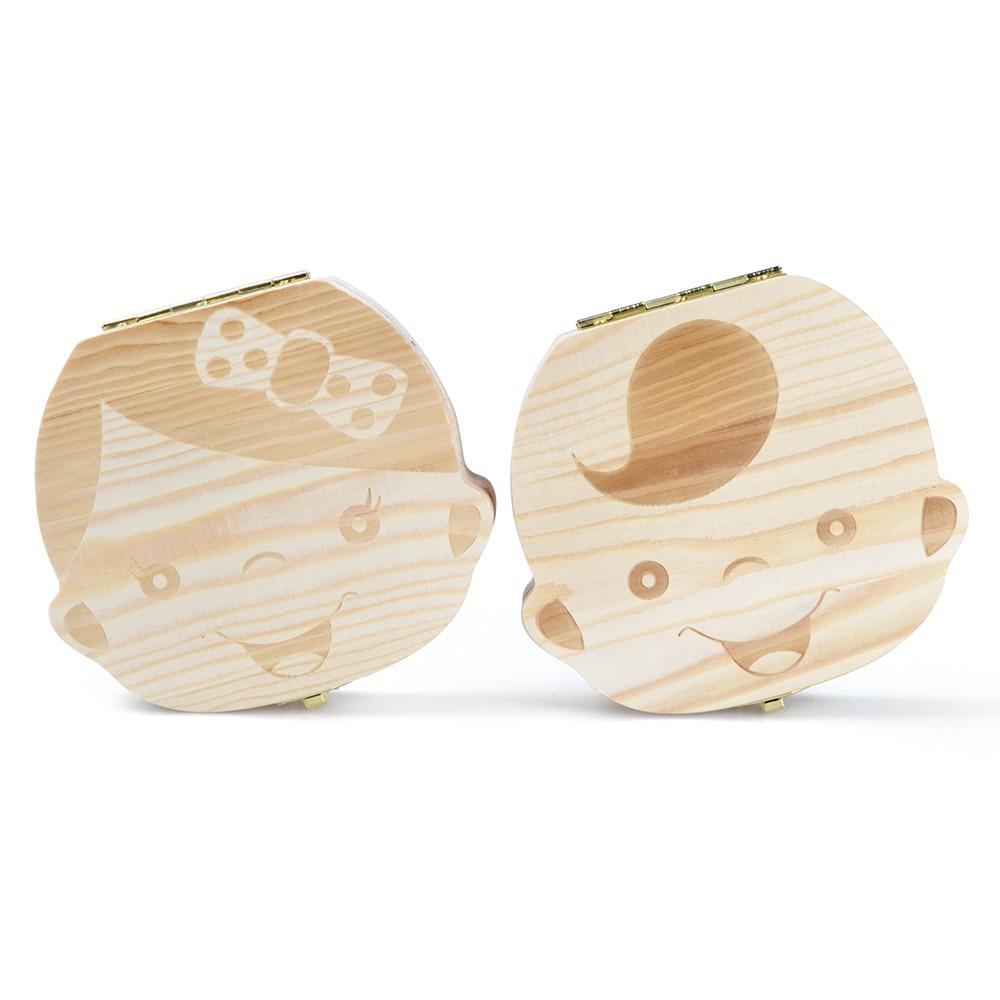 Spanish English Russian Wooden Baby Teeth Save Box Boy Girl Storage Baby Growth Commemorative Milk Teeth Protection Box