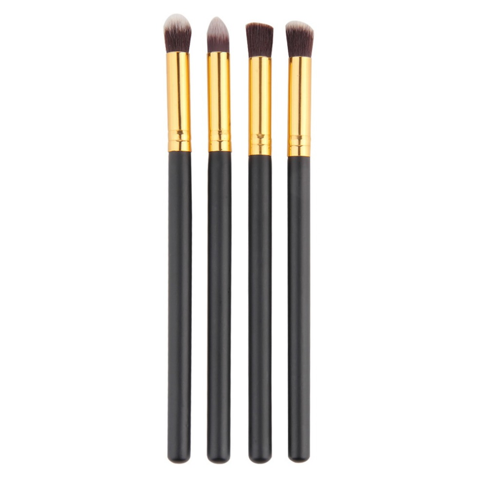 4pcs / set Profesional Mata berus set eyeshadow Yayasan Mascara Blending Pencil berus Makeup alat Kosmetik Hitam Popular