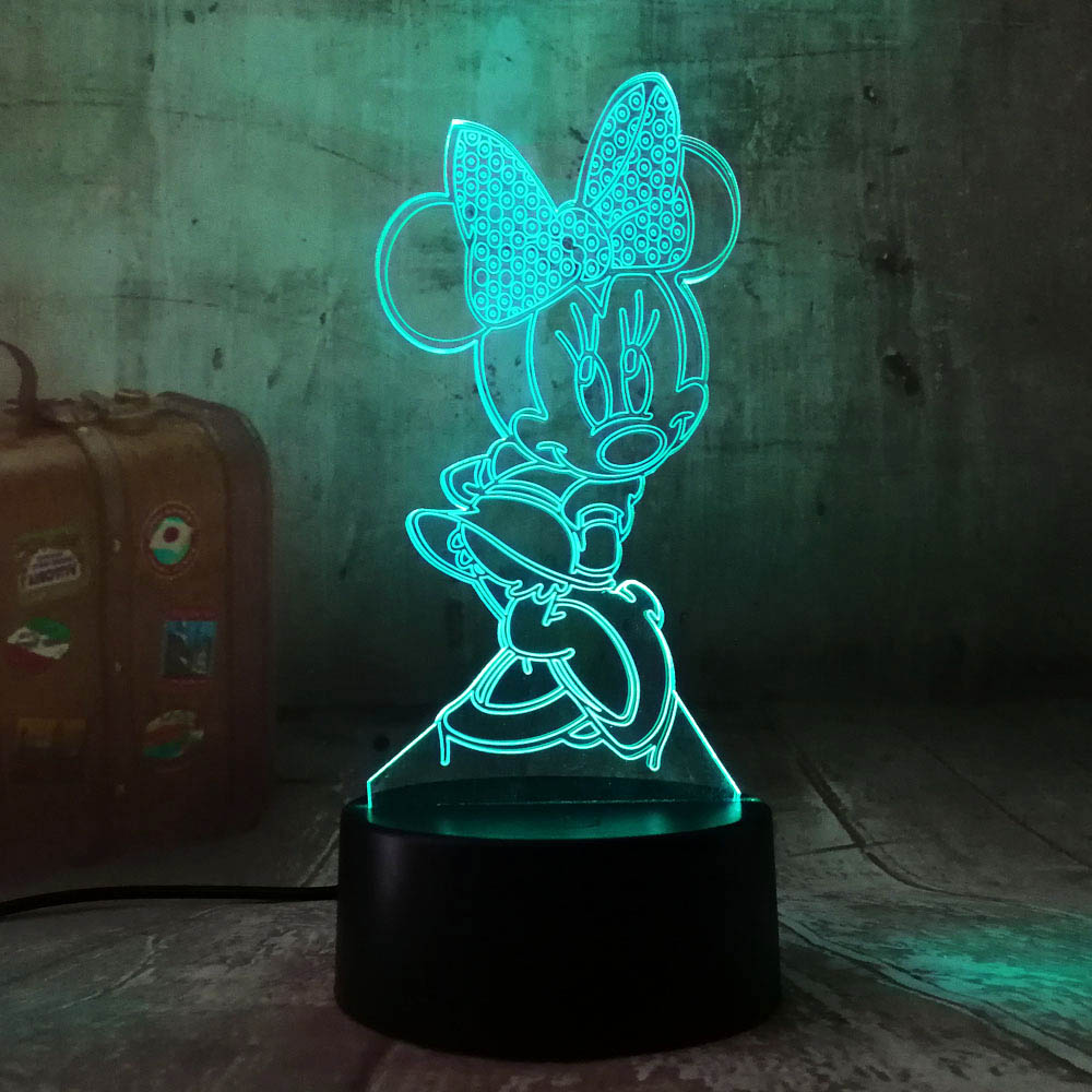 3D Cartoon Minnie Mouse LED RGB Night Light 7 Color Change Desk Table USB Lamp For Child Kids Christmas Gift Novelty Home Decor