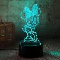 3D Karikatür Minnie Mouse LED RGB Gece Lambası 7 Renk Değişimi Masa Masa USB lamba Çocuk Çocuklar için noel hediyesi Yenilik Ev dekor