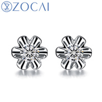 ZOCAI NATURAL 0.22 CT CERTIFIED DIAMOND FLOWER LOTUS EARRINGS JEWELRY EARRING EAR STUDS ROUND CUT 18K WHITE GOLD E00051