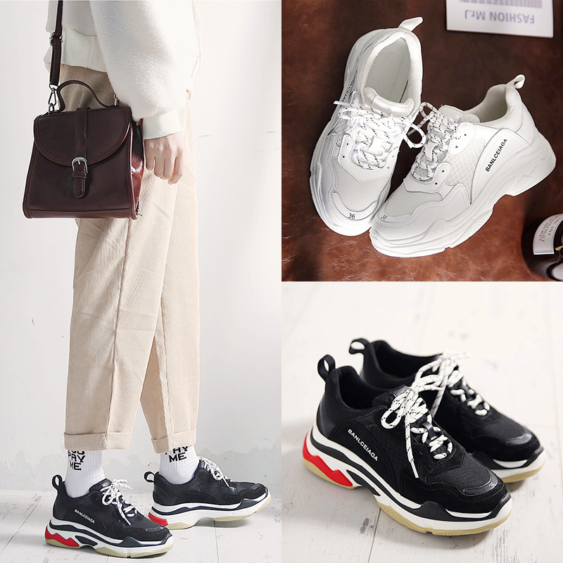Spring New Pattern Sneakers Korean Ulzzang Dad Shoe Woman Winter Original Su Thick Bottom Ins Exceed Fire Real Shoes sneakers woman 2018 spring and autumn season new pattern korean plate thick bottom chalaza casual old women s shoes