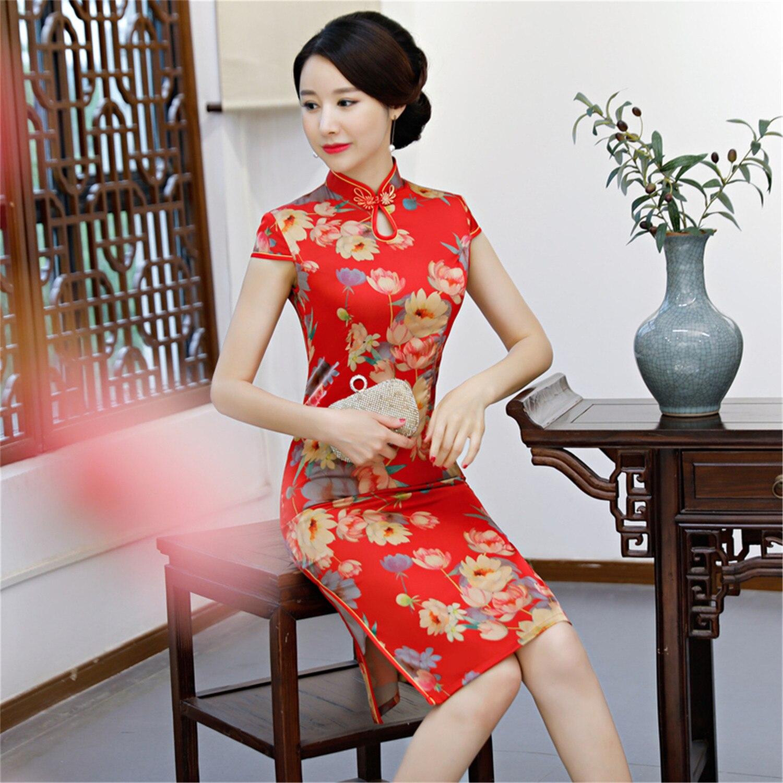 Angemessen Neue Frauen Kurzarm Qipao Rot Sexy Satin Hochzeit Kleid Chinesischen Vintage Stehkragen Floral Edlen Cheongsam Übergroßen M-3xl