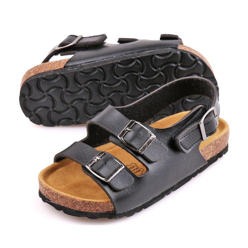 Kids Sandals Boys Girls Clog Beach Sandals Children Shoes For Summer Rome Sandals Cork Flat Comfortable Pu Leather Kids Fashion