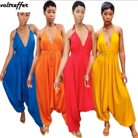 2018 Summer Harem Jumpsuit For Women Loose Backless Halter Rompers Flare Pants Wrinkle Bohemian Style Overalls Sexy Pinup
