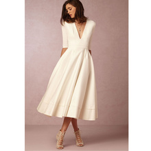 Autumn Winter Shortsleeve Deep V-Neck Dresses Lady Sexy Designer OL Street Style Dress Casual Midi White