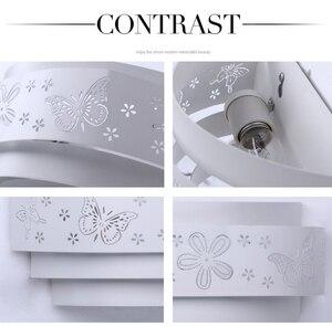 Image 5 - Modern duvar lambaları Minimalist kelebek çiçek oyma LED e27 duvar lambası, beyaz stereoskopik demir kapak ayna ön/yatak odası takımları