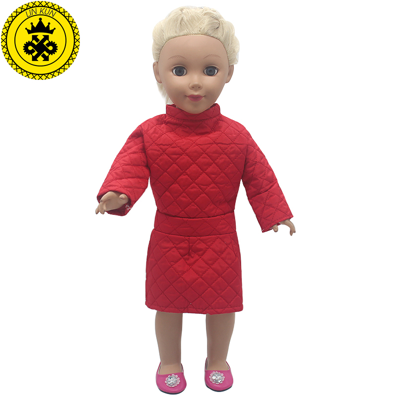 American Girl Doll Clothes Winter Dress Red Coat Doll Clothes for 18 inch boneca american girl Christmas gift MG-504 american girl doll clothes elegant color flower print long dress doll clothes for 18 american girl best gift 5 colors d 2