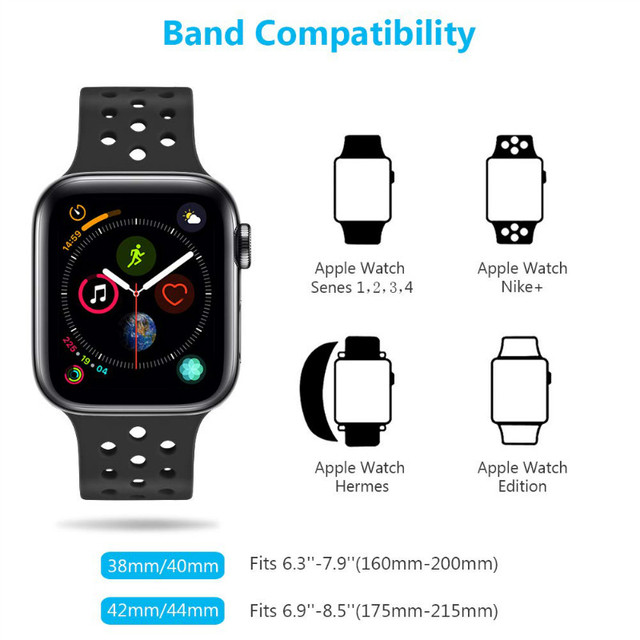 Compatible rubber Band for Apple Watch 4 40mm 44mm, Soft Silicone Sport Breathable Strap for iWatch Series 4, 3, 2, 1 38MM 42MM