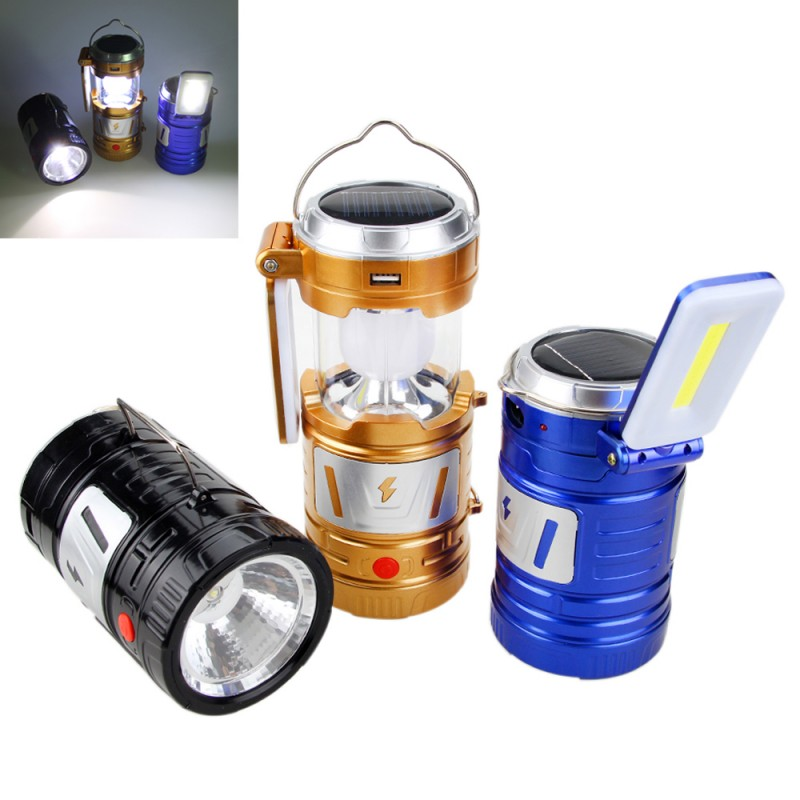 Rechargeable Outdoor Solar Camping Lantern Portable Tents LED Light Emergency Lamp with Built-in Lithium Battery-3 Colors