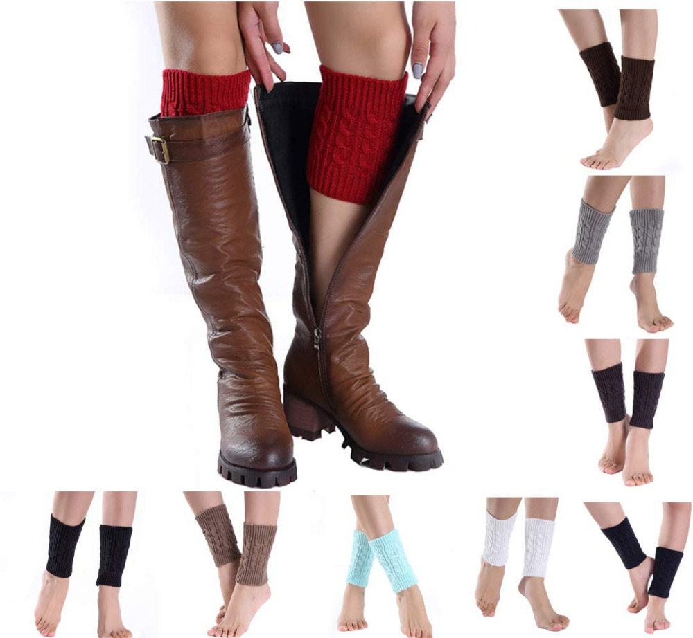 Women's Socks & Hosiery Leg Warmers 2018 Women Fall Fashion Knitted Socks Leg Warmer Short Straight Tube Hemp Flowers Boot Crochet Cover Cuffs Gaiters