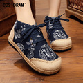 Spring High Women Flats For Women Shoes Hemp Linen Canvas Patchwork Lace-Up Chinese Style Dragon Totem Ladies Footwear SNE-176