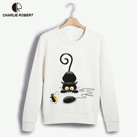 CR Naughty Black Cat 3D Hoodies Size S 3XL Women Lovely Sweatshirt Good Quality Comfortable Brand