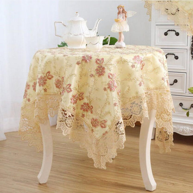 Luxury Elegant Embroidery Lace Round Tablecloth For Wedding Table Cloth  Cover TV Covers Tea Tablecloths Refrigerator