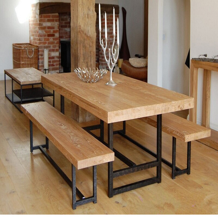 Excelente natural madeira casa de ferro americano mesa de