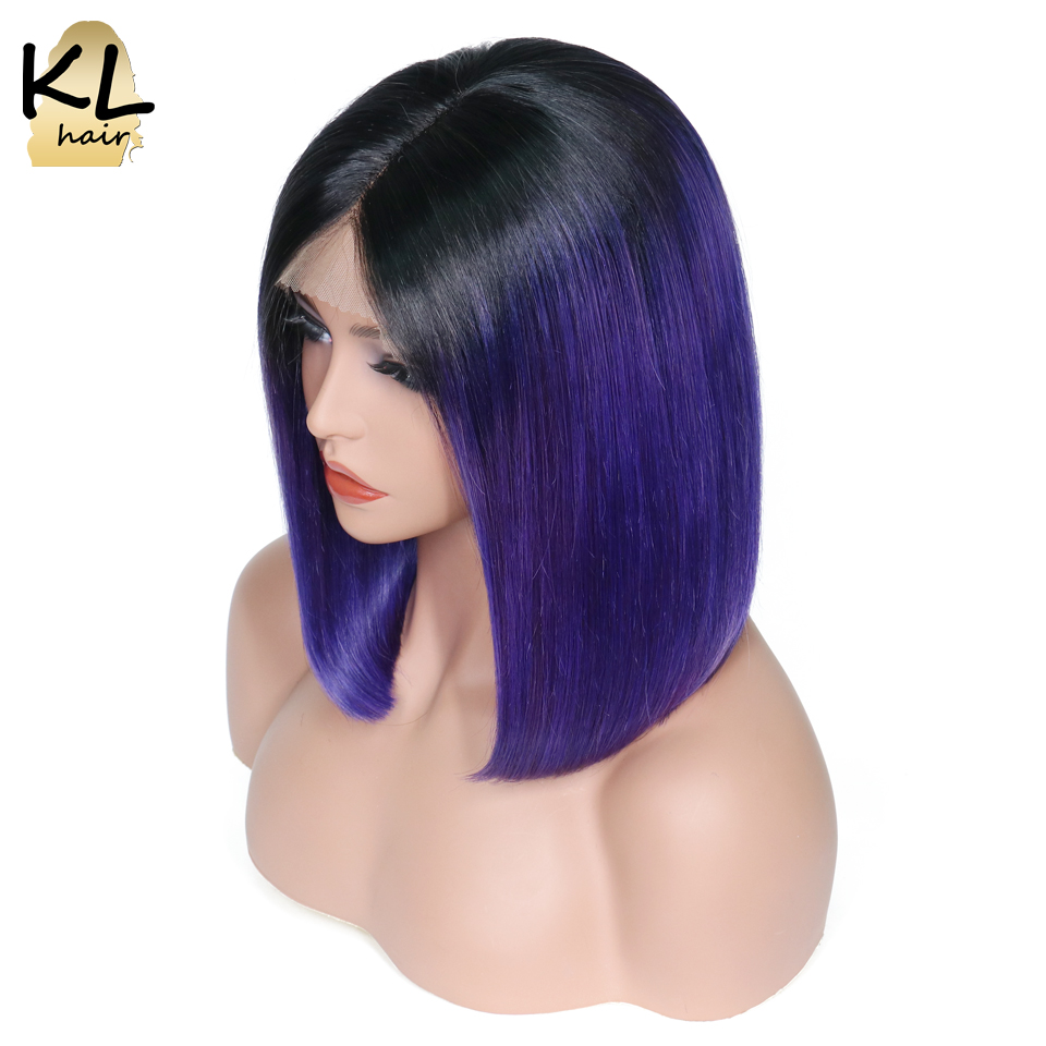 KL Ombre Color Bob Wigs Blue Lace Front Human Hair Wigs Straight Brazilian Remy Hair Short