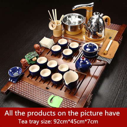 Chinese Style Retro Tea Set Tea Tray Full Set Of Kung Fu Purple Sand Automatic Household Simple Four in one Solid Wood Tea Table in Teaware Sets from Home Garden