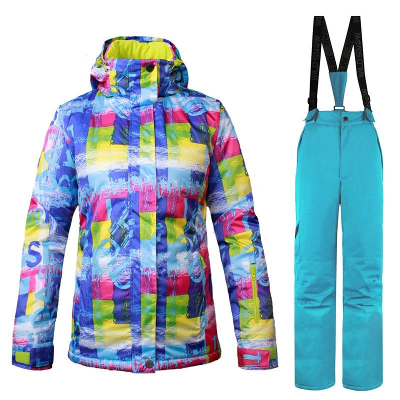 Hot Brand Ski Suit Women Windproof Waterproof Warm Winter Jackets + pants Outdoor Sport Snow Coat Skiing Snowboarding Clothing