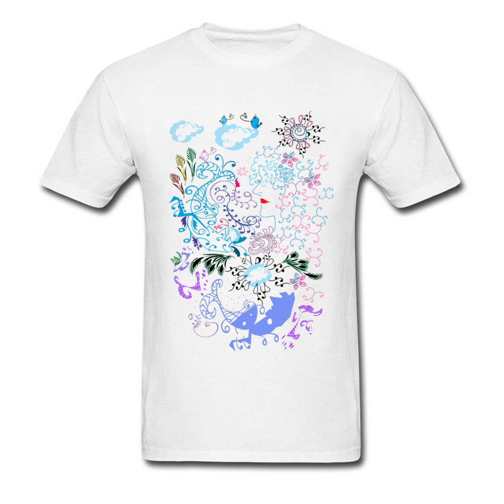 Daydream Line Art Design Men White T-shirt Cartoon Drawing Casual Summer Family T Shirt Cotton Fabric Fitness Tops
