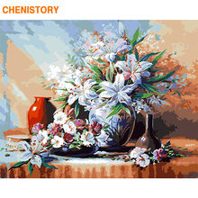 CHENISTORY Frame Lily Flowers DIY Painting By Numbers Kit Modern Wall Art Picture Handpainted Coloring By Numbers For Home Arts(China)